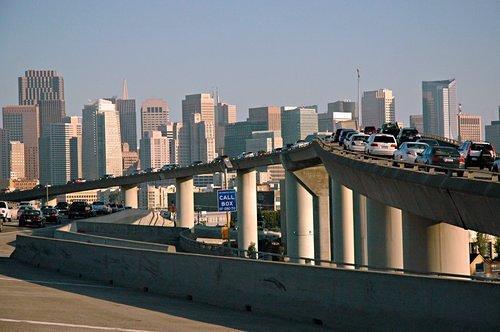Traffic_stopped,_Call_box,_downtown_San_Francisco_Freeway,_California,_USA